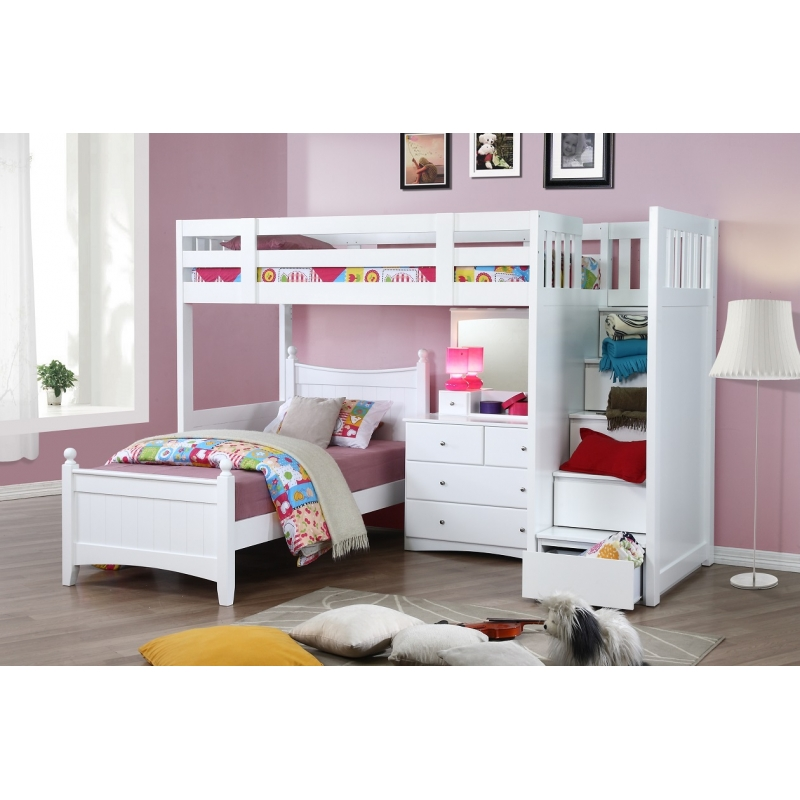 My Design Bunk Bed K/Single W/Stairu0026Chloe Bed Singleu0026Dressing Table  W/Mirror #104036