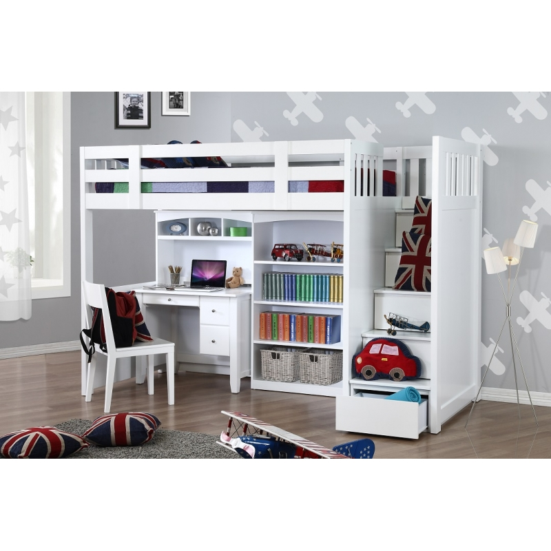 My design bunk bed k single w stair desk w hutch bookcase for Single bunk bed