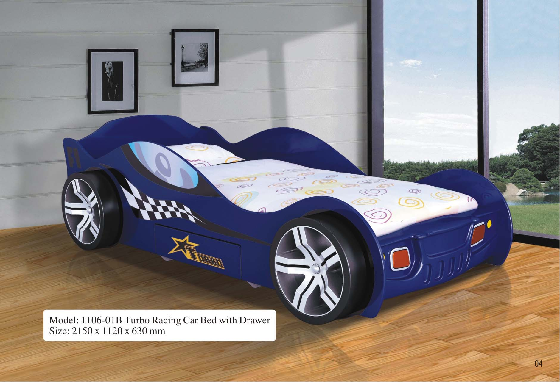 Turbo Racing Car Bed W Drawer